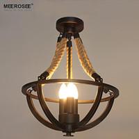 Wholesale American Wedges - Vintage Rope creative chandelier light fixture American Metal Rope lamp lustre for Hotel Restaurant living room 100% Guaranteed