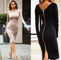 Wholesale Elegant Women Long Sleeve - 2016 Women Summer zipper Style Long sleeve skirt Maxi Beach Dress Maxi Dresses Sexy Elegant bohemian dress Plus Size Vestidos