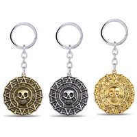 Aztec Style Pirates Skull Head Keychain Chaveiro - Gold Silver Bronze Color Key Chain Titular de anel - Vintage Women Bag Pendant