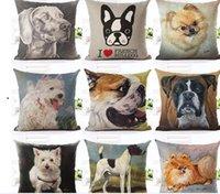 Wholesale Suede For Sofa - Home Style New Fashion Cute Dog Printed Linen Cotton Cushion For Sofa Fundas Home Decorative Pillow Throw Almofadas Cojine