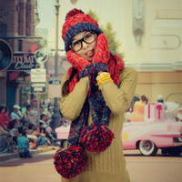 Wholesale New Arrival High Quality Fashion Winter Women Knited Scarf Hat Glove Set