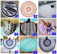 Wholesale Wholesale Bath Decor - 14 Types 100% Polyester Round Tassel Beach Towel 150*150cm 59*59'' Bath Towel Tassel Decor Geometric Printed Bath Towel Summer Style