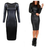 robe noire en simili cuir à manches longues achat en gros de-Robe en cuir pour femmes Sexy Clubwear à manches longues ras du cou Party noir Midi en cuir Faux robe livraison gratuite