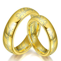 Wholesale Hobbit Silver - New Lord Of The Rings 18K Gold Silver Plated Jewelry The Hobbit Couple Rings Black Mens Rings Fashion Wedding Hand Jewelry Hot Brand