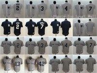 Wholesale Elite 13 - Elite Baseball 2 Derek Jeter Jersey 3 Babe Ruth 7 Mickey Mantle 4 Lou Gehrig 42 Mariano Rivera 13 Alex Rodriguez Team Color White Gray Blue