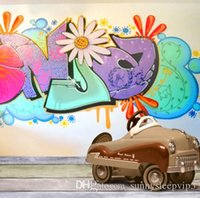 Graffiti Wall Wooden Floor Toy Car Backgrounds For Photo Studio Props 5X7ft  Vinyl Cloth Photo Backdrops