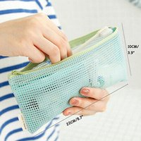 Vente en gros-New Travel Nylon Mesh Zipper Storage Bag Articles de toilette Maquillage cosmétiques sac à main sac à main
