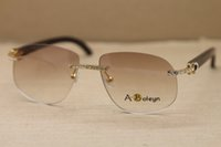 4e01a596acf New Brand Diamond Sunglasses Luxury Rimless Sunglasses 8100928 Sun Glasses  Natural Genuine Black Buffalo Horn Glasses for Men Women with Box