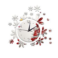 Wholesale Sticker Plastic Flower - Creative personality living room wall clock bedroom wall stickers romantic flower mirror Proof and waterproof European and American fashion