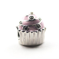 Wholesale Pandora Cupcake - Loose Beads DIY charms 100% Authentic 925 Sterling Silver beads Sweet Cupcake Fits for Pandora Bracelets 2016 mother's day free shipping