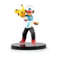 Wholesale Nendoroid Wholesale - New Nendoroid Pikachu Ash Ketchum Poke Go PVC Action Figure Toy Doll 13.5cm with box pocket monster Action Figures free shipping