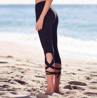 Wholesale Dance Pants For Women - Women Bandage Sports Fitness Leggings Pants For Women Fashion 3 4 Length Black Slim Dance Exercise Trousers Grey 1099