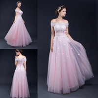Wholesale image stock photos - 100% Real Picture In Stock Cap Sleeve A-line Long Prom Dress Pink Tulle Appliques Lace Up Elegant Evening Prom Party Gown