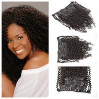ingrosso tessuto reale dei capelli umani ricci-Trasporto libero 100% reale brasiliana dei capelli umani Clip nelle estensioni dei capelli crespi ricci tesse 120 g 7 pz / set nero naturale G-EASY