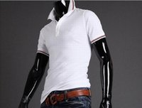 Wholesale Stand Up Men Shirt - 2016 summer fashion stand-up collar short-sleeved T-shirt polo top olive leaf male polo shirt cotton casual men's fitness!
