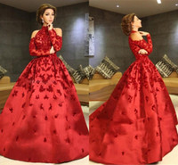 Wholesale Halter Ball Gown Navy - Red High Neck Myriam Fares Evening Dresses 2017 Halter Long Sleeves Appliques Beaded Satin Ball Gown Celebrity Dresses Formal Prom Dresses
