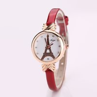 Wholesale Unique Watches For Ladies - 2016 Fashion New Unique Quartz Wrist Watch for Women with Eiffel Tower Pendant Rhinestone Dial Analog Lady Watches