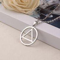 Wholesale triangle necklace pendant men - Eminem Necklace Men Classic Triangle Style Hip-hop Pendant chain Necklace Fashion Jewelry Wholesale Sterling silver simple neckalces