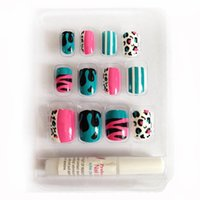 Wholesale Leopard Print Nail Tips - Wholesale- New 12 PCS Colorful Leopard Print French Pre-design Full Cover Fake False Acrylic Sticker Nails Tips With Free Glue Gel [N229]