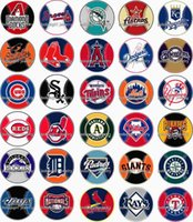 Wholesale Coin Bracelet Wholesale - Free shipping MLB Baseball 30pcs   lot glass snap button jewelry charm popper for bracelet GL1302 jewelry making