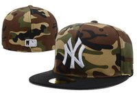 Wholesale cheap black top hats - 2018 Top Quality Camouflage Stye ny Fitted Caps Men's Sport Team Baseball NY Full Closed Design Hats Bones Cheap Popular Hip Hop Hat