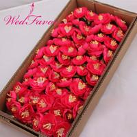 guirlande de fleurs de soie chaude achat en gros de-Wedfavor Vente Chaude 60 pcs 5 cm Artificielle Grand Thé Rose Bouquet De Soie Camélia Fleurs Garland Cheveux Corsage De Mariage Décoration