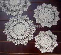 """Wholesale Hand Crochet Doilies - Wholesale-20cm(7.8"""") 20pcs lot Beige white Hand Made Crochet doily placemat coasters placemat set shabby chic place mats doilies"""