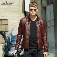 Wholesale lether jacket men - Wholesale- 2017 Plus Velvet Fashion Brand Winter Leather Jacket Men Zip Pocket Motorcycle Leather Jacket Winter Men Lether Jackets And Coat