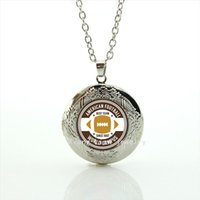 Wholesale Female Friend - Fashionable bijoux locket necklace America Newest mix 32 sportrugby football locket jewelry gift for female and male friends NF088