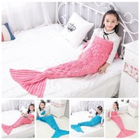 Wholesale Crochet Cocoon Wholesale - Kids Mermaid Tail Blankets 140*70CM Mermaid Knitted Blankets Fish Siesta Sleeping Bags Crochet Cocoon Mattress Mermaid Sofa Blankets OOA2910