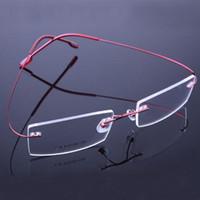 Wholesale Rimless Prescription Glasses - 2017 Retail 9 colors fashion rimless glasses frames fashion memory titanium eyeglasses frames prescription optical frames