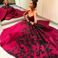 Wholesale Sweetheart Appliques Beaded Ruched - Sweetheart Fushia Dresses Evening Wear Black Beaded Lace Appliques Ball Gown Satin Evening Gowns Elegant Ruched 2016 Formal Prom Dresses