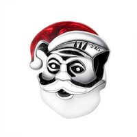 Wholesale Glass Beads Santa - Wholesale Lovely Santa Claus With Christmas hat Charm 925 Sterling Silver European Charms Bead Fit Snake Chain Bracelets DIY Jewelry