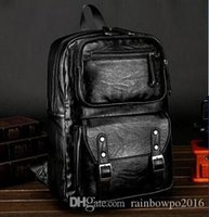 Wholesale Sales Fashion Leather Bag - Factory sales explosion models fashion simple mens leather business shoulders bag high brand casual leather men travel backpack