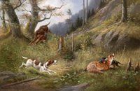 Wholesale Oil Painting Hunting - Free Shipping,Hound dogs hunting with deer in landscape,Pure Hand painted Animal Art Oil Painting On Canvas.any customized size accepted