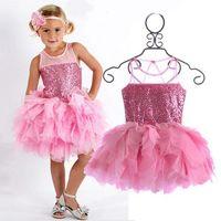 Wholesale Tutu Skir - Tutu Dress New Pink Baby Toddler Girls Sleeveless Sequined Dresses Tutu Dress Headband Europe Summer Dress Girls Sequined Skirt Sewing Skir