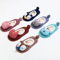 Bambini Baby Socks 3D Infant coreano non scivolare Fox Bear Cat ragazzi  ragazze rosa rosso blu bambino Neonato pantofole bambini carino 1faba87255b