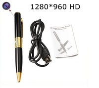 Wholesale Hidden Dvr Recorders - mini HD camera pen camcorders 1280*960 avi HD Spy pen Cameras hidden Pen recorder DVR support 32G Micro TF Card Hidden camera listen device