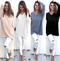 Wholesale Thin Sweaters For Women Loose - New Winter Long Sweater For Women Long Sleeve V-Neck Loose Casual Knitwear Fashion Plain Knit Tee Shirt DYG0906