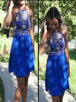 vestido drapeado corto azul real al por mayor-2016 Royal Blue Short Homecoming Vestidos baratos con lentejuelas con cuello halter con cuentas drapeado elegante vestido de graduación junior para fiesta formal fiesta