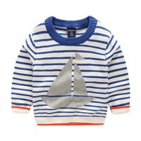 Wholesale Boat Screws - New 2016 baby boys sailing boat striped Pullover coat kids sweater children Autumn winter Screw o-neck soft cotton knitwear 90-130cm