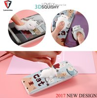Wholesale Cute Animal Phone Cases - Lamorniea Phone Case for iPhone 6 6S 6 plus 3D Cute Soft Silicone Squishy Cat for iPhone 7 7 plus 5S Cover Animal Kitty