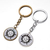 Wholesale Handbag Glasses - Supernatural Wickedest Pentacle keychain glass Time gemstone key ring keyring pendants men women handbag hangs movie jewelry BY DHL 240337
