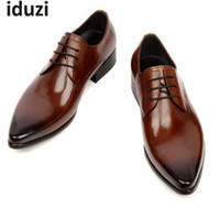 Wholesale Mens Casual Wedding Shoes - Man dress shoes fashion Italian luxury casual mens shoes genuine leather black brown buckle design flats for men business size:6-10