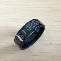 herr stahl großhandel-Blaue Männer Englisch Bibel Ring 8mm 316 Titan Stahl Kreuz Brief Gebet Bibel Ehering der Herr der Ring Männer Frauen