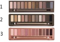 venda de olhos nude venda por atacado-Venda quente Nudez 123 sombra paleta de Maquiagem 12 cores paleta da sombra 1 + 2 + 3 todos com escova 3 unidades / lotes frete grátis alta qualidade