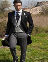 утренний стиль куртки оптовых-Wholesale- Morning Style One Button Black Groom Tuxedos Groomsmen Mens Wedding Suits Formal Dress (Jacket+Pants+Vest+Tie) NO:094
