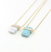 Wholesale White Gold Blue Stone Pendant - White turquoise rectangular semi stone necklace turquoise pendant rose quartz rectangular necklace blue-veins stone necklace 4 pcs a lot