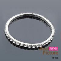 Wholesale Silver Rhinestone Cuff Bracelet - 15005 White Rhinestones Bridal Jewelry Pearls Bracelets bridal Wedding Accessories Silver Plated 3 Row Chain Style Wedding Bracelet 2015