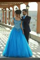 Wholesale stunning evening dresses sash resale online - Hot Stunning Blue Tulle Sweetheart Straps Floor Length A Line Crystal Prom Dress Vestidos Backless Evening Dress Special Occasion Dress